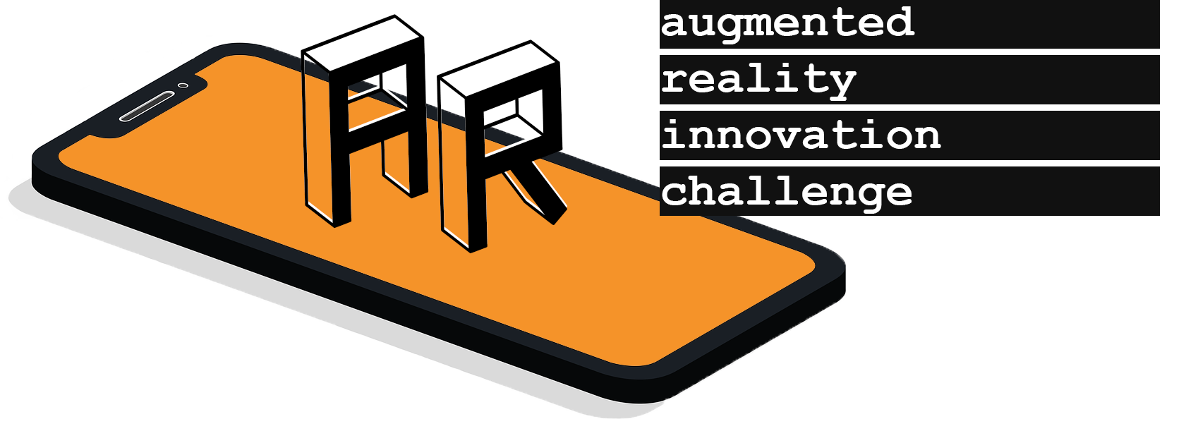 Image of phone with letters A and R on it with text Augmented Reality Innovation Challenge