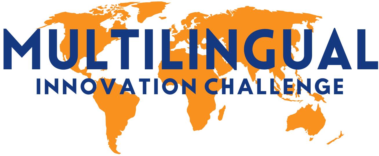 Multilingual Innovation Challenge text set over orange world map
