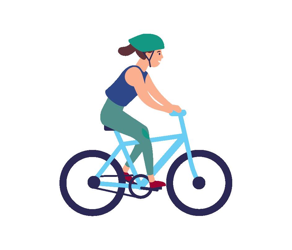 Cartoon of woman on bike