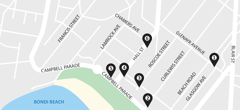 Map of PUDO bays in Bondi Beach