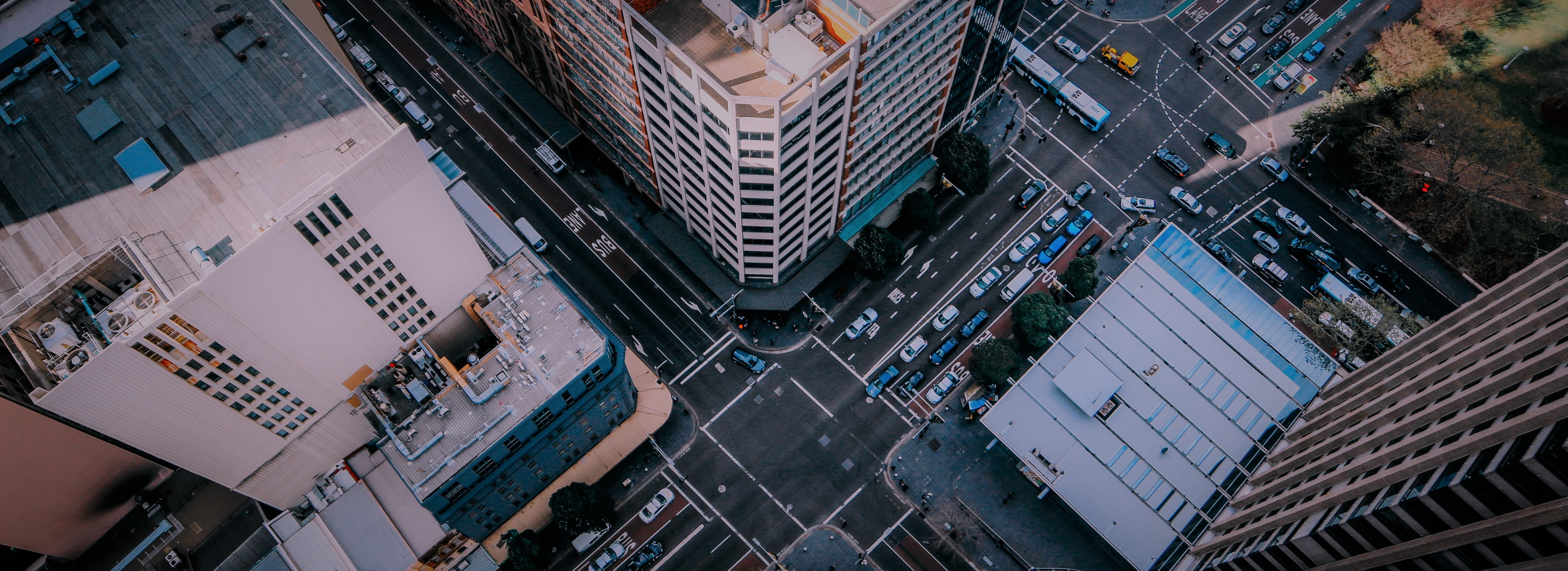 Aerial view of intersection in Sydney
