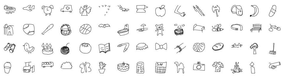 Examples of open data drawings from Quick Draw