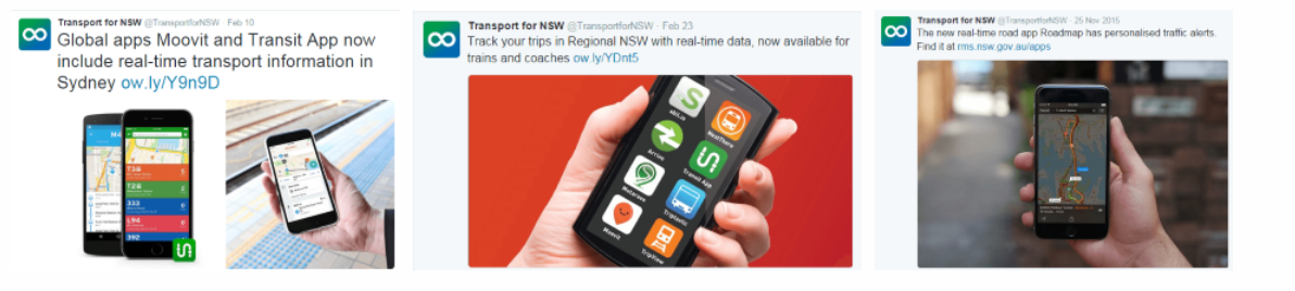 examples of social media tweets for transport apps