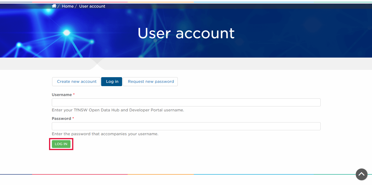 Image of the user login page