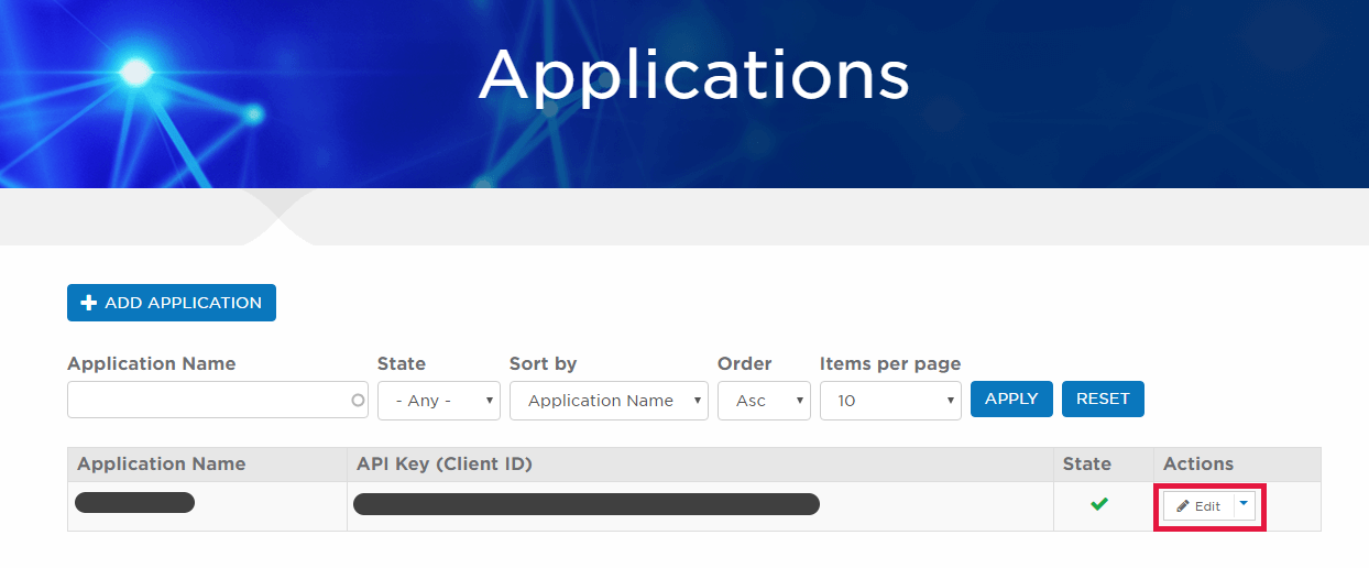 Image of the applications page highlighting the edit application button
