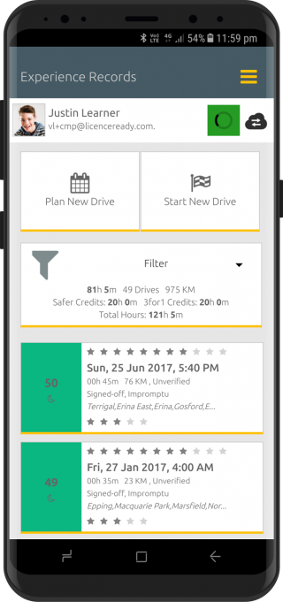 Screenshot of Licence Ready app