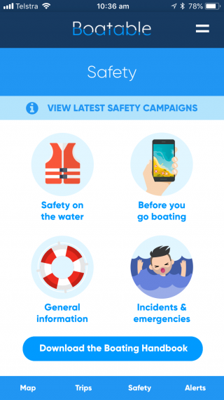 Screenshot of the Boatable app