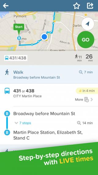 Screenshot of the Citymapper app on iPhone