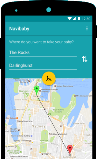 Image of a screenshot of the Navibaby app