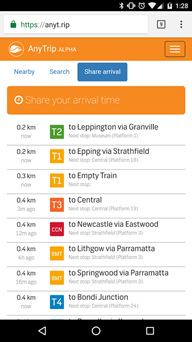 Image of a screenshot of the AnyTrip app