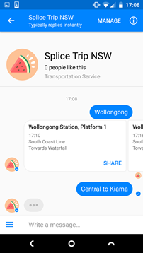 Image of a screenshot of the Splice Trip NSW app